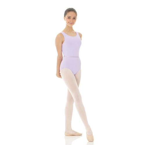 Female model wearing Mondor Tank RAD Leotard, style 3545, colour lilac, front view.
