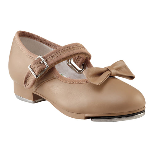 Product image of: CAPEZIO Mary Jane Tap Shoe - Kids, Style: 3800C, Color: Caramel, 45 degree side view.