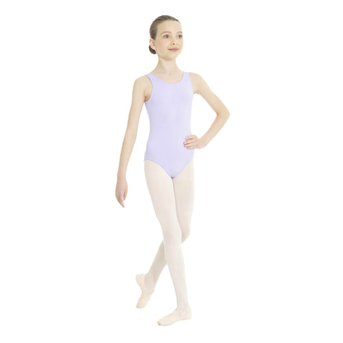 Female model wearing MONDOR Essentials Tank Leotard, style 40095, colour lilac-59, front view.