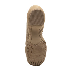 Product image of BLOCH Pulse Leather Jazz Shoe, Style: S0470L, Color: Tan, View: Bottom.