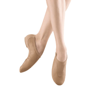 Female model wearing BLOCH Pulse Leather Jazz Shoe, Style: S0470L, Color: Tan, View: Front, Side.