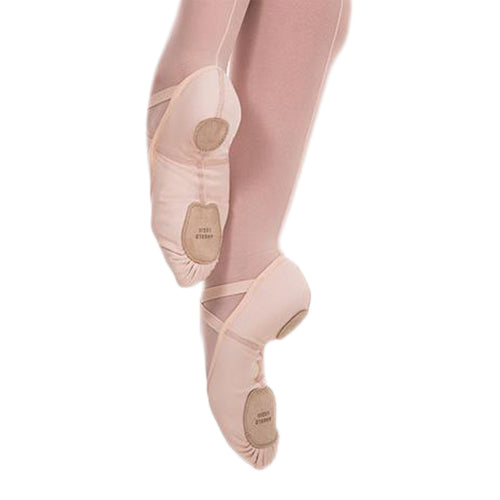 Product image of: BODYWRAPPERS Instant Fit Split Sole Ballet Shoe, Style: 248A, Color: Peach, View: Side view and bottom view of sole.