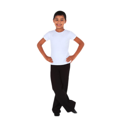 Boy model wearing Body Wrappers Boys Jazz Pant, style B191, colour black.