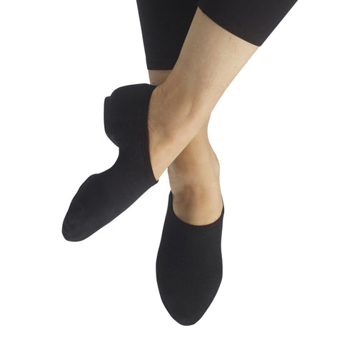 Female model wearing CAPEZIO EOS Jazz Shoe, Style: PP17, Color: Black, View: Top, Side.