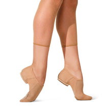 Load image into Gallery viewer, Female model wearing CAPEZIO EOS Jazz Shoe, Style: PP17, Color: Black, View: Side.