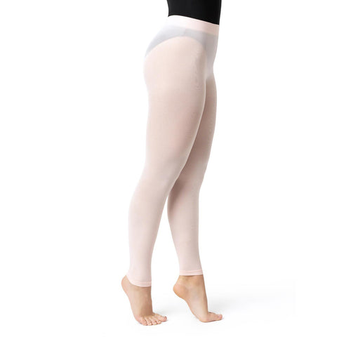 Female model wearing CAPEZIO Ultra Soft Footless Tight With Self Knit Waistband, Style: 1917C, Colour: Ballet Pink, View: Side View.