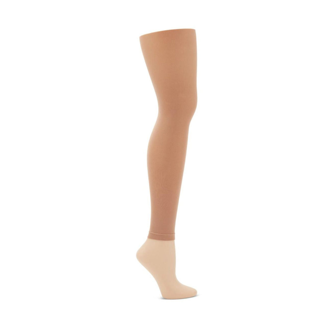 Product image of: CAPEZIO Ultra Soft Footless Tight With Self Knit Waistband, Style: 1917, Color: Light Suntan, View: Side View.
