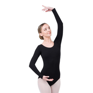 Female model wearing CAPEZIO Long Sleeve Leotard, Style: CC450, Color: Black, View: Front.