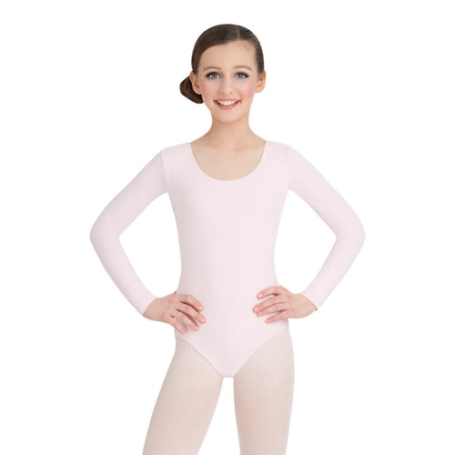 Female model wearing CAPEZIO Long Sleeve Leotard - Kids, Style: CC450C, Color: Pink, View: Front.