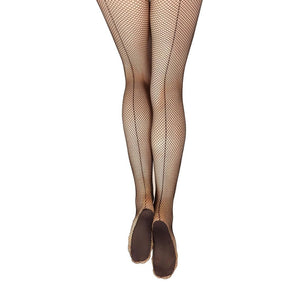 Female model wearing CAPEZIO Professional Fishnet Tight With Seams, Style: 3400, Color: Black, View: Back.