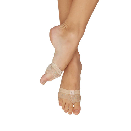 Female model wearing CAPEZIO Rhinestone Footundeez, Style: H07R, Color: Nude, View: Front, Side.