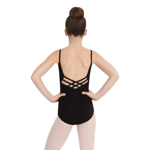 Female model wearing Capezio V-Neck Camisole Leotard, style CC102C in color black, back view.