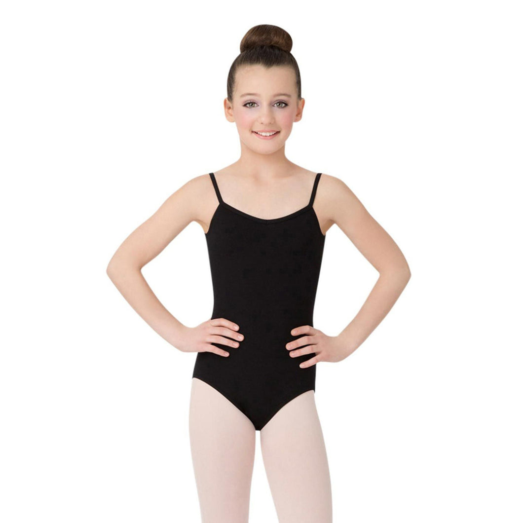 Female model wearing Capezio V-Neck Camisole Leotard, style CC102C in color black, front view.