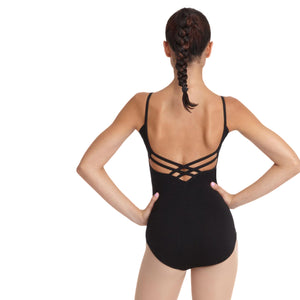 Female model wearing Capezio V-Neck Camisole Leotard, style CC102 in color black, back view.