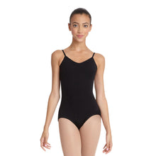 Load image into Gallery viewer, Female model wearing Capezio V-Neck Camisole Leotard, style CC102 in color black, front view.