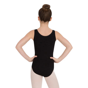 Female model wearing Capezio High-Neck Tank Leotard, style CC201 in color black, back view.
