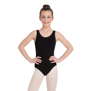 Female model wearing Capezio High-Neck Tank Leotard, style CC201 in color black, front view.