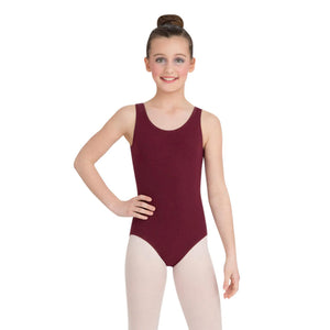 Female model wearing Capezio High-Neck Tank Leotard, style CC201 in color burgundy, front view.