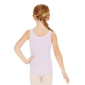 Female model wearing Capezio High-Neck Tank Leotard, style CC201C in color lavender, back view.