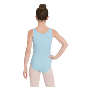 Female model wearing Capezio High-Neck Tank Leotard, style CC201C in color light blue, back view.