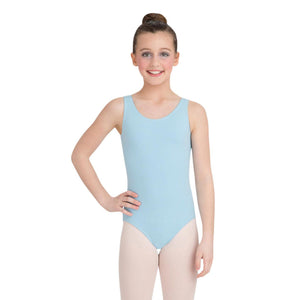 Female model wearing Capezio High-Neck Tank Leotard, style CC201C in color light blue, front view.
