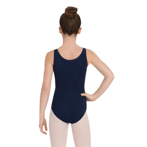 Female model wearing Capezio High-Neck Tank Leotard, style CC201 in color navy, back view.