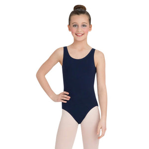 Female model wearing Capezio High-Neck Tank Leotard, style CC201 in color navy, front view.