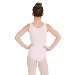 Female model wearing Capezio High-Neck Tank Leotard, style CC201C in color pink, back view.