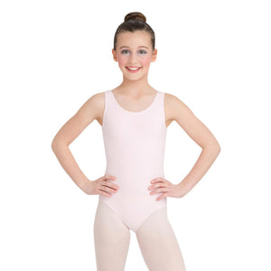 Female model wearing Capezio High-Neck Tank Leotard, style CC201C in color pink, front view.