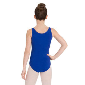 Female model wearing Capezio High-Neck Tank Leotard, style CC201 in color royal blue, back view.