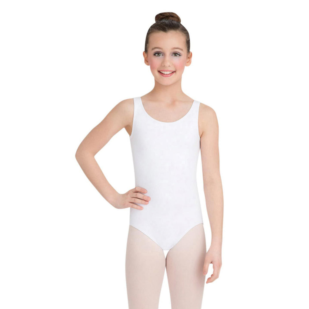 Female model wearing Capezio High-Neck Tank Leotard, style CC201C in color white, front view.