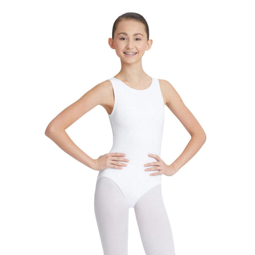 Female model wearing Capezio High-Neck Tank Leotard, style CC201 in color white, front view.