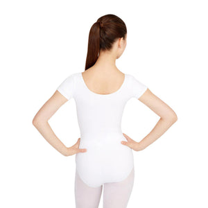 Female model wearing CAPEZIO Short Sleeve Leotard, style CC400, colour white, back view.