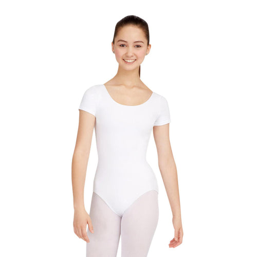 Female model wearing CAPEZIO Short Sleeve Leotard, style CC400, colour white, front view.