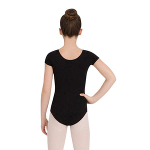 Female model wearing CAPEZIO Short Sleeve Leotard, style CC400C, colour black, back view.