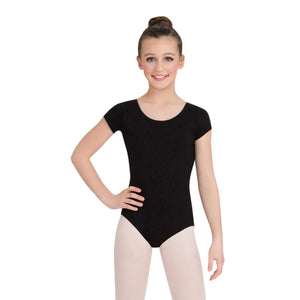 Female model wearing CAPEZIO Short Sleeve Leotard, style CC400C, colour black, front view.