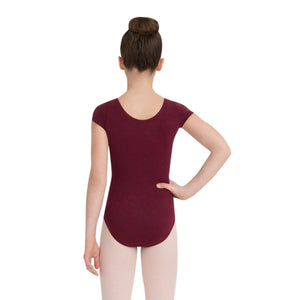 Female model wearing CAPEZIO Short Sleeve Leotard, style CC400C, colour burgundy, back view.