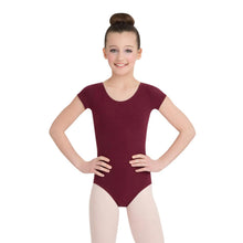 Load image into Gallery viewer, Female model wearing CAPEZIO Short Sleeve Leotard, style CC400C, colour burgundy, front view.