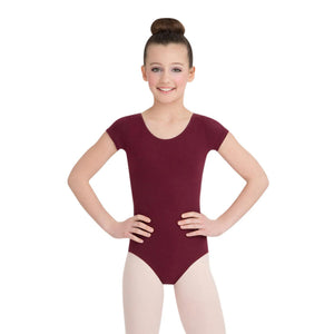 Female model wearing CAPEZIO Short Sleeve Leotard, style CC400C, colour burgundy, front view.