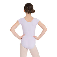 Load image into Gallery viewer, Female model wearing CAPEZIO Short Sleeve Leotard, style CC400C, colour lavender, back view.