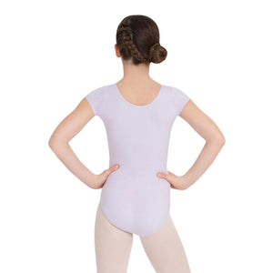 Female model wearing CAPEZIO Short Sleeve Leotard, style CC400C, colour lavender, back view.