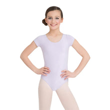 Load image into Gallery viewer, Female model wearing CAPEZIO Short Sleeve Leotard, style CC400C, colour lavender, front view.