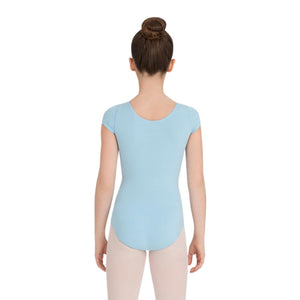 Female model wearing CAPEZIO Short Sleeve Leotard, style CC400C, colour light blue, back view.