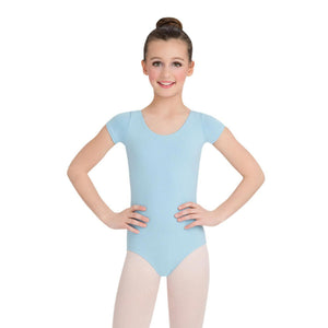 Female model wearing CAPEZIO Short Sleeve Leotard, style CC400C, colour light blue, front view.