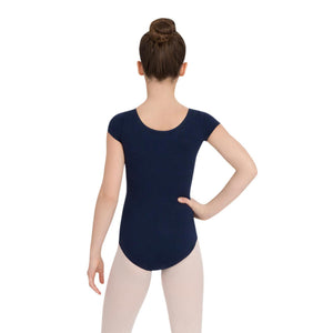 Female model wearing CAPEZIO Short Sleeve Leotard, style CC400C, colour navy, back view.
