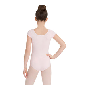 Female model wearing CAPEZIO Short Sleeve Leotard, style CC400C, colour pink, back view.