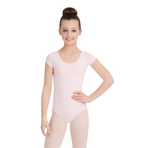 Female model wearing CAPEZIO Short Sleeve Leotard, style CC400C, colour pink, front view.