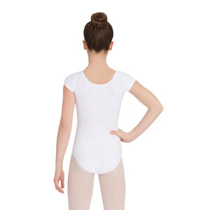 Female model wearing CAPEZIO Short Sleeve Leotard, style CC400C, colour white, back view.