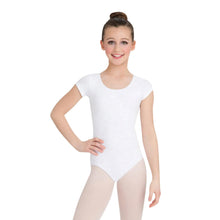 Load image into Gallery viewer, Female model wearing CAPEZIO Short Sleeve Leotard, style CC400C, colour white, front view.