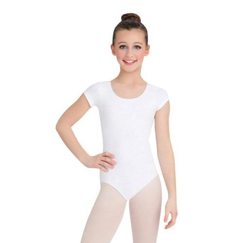 Female model wearing CAPEZIO Short Sleeve Leotard, style CC400C, colour white, front view.